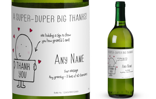 Chilli and Bubble's French AC White Wine with Thank You in Gold Box
