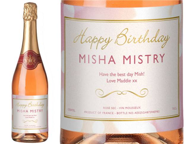 Personalised Sparkling Rose Wine Birthday Label in a Gold Gift Box