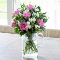 Pink Rose & White Freesia