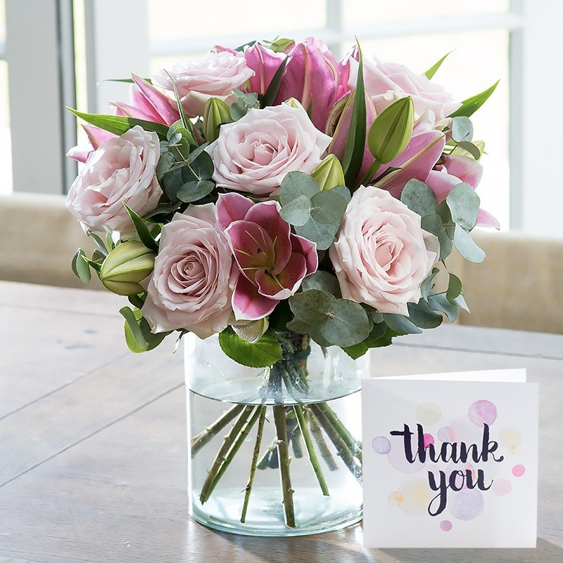 Thank You Card With Pink Rose & Lily