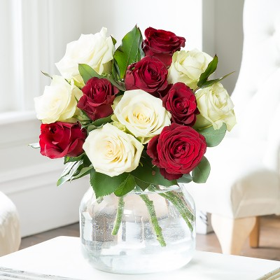 Red flowers beautiful red flower bouquets blossoming gifts 12 red white roses mightylinksfo