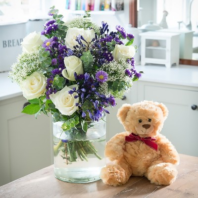 New baby flowers blossoming gifts flower delivery beautiful baby boy teddy gift set negle Choice Image