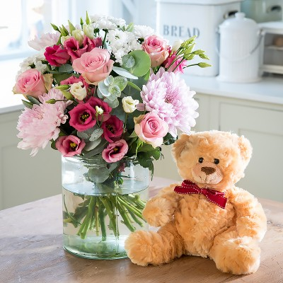 New baby flowers blossoming gifts flower delivery beautiful baby girl teddy gift set negle Choice Image
