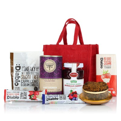 Freefrom hampers blossoming gifts gluten wheat free diabetic jute bag negle Images