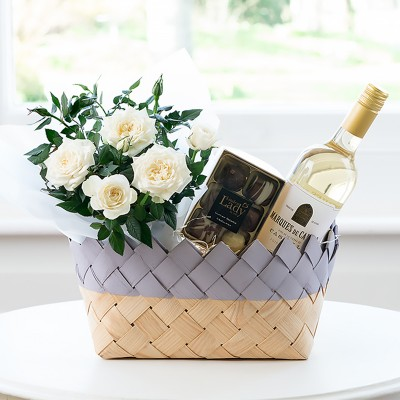 New baby flowers blossoming gifts flower delivery white wine flower hamper negle Choice Image