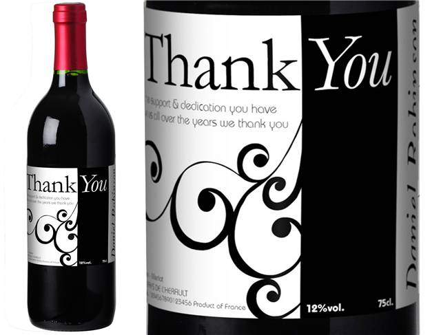 French Vin du France Red Wine Swirls Thank You Label in a Gold Box