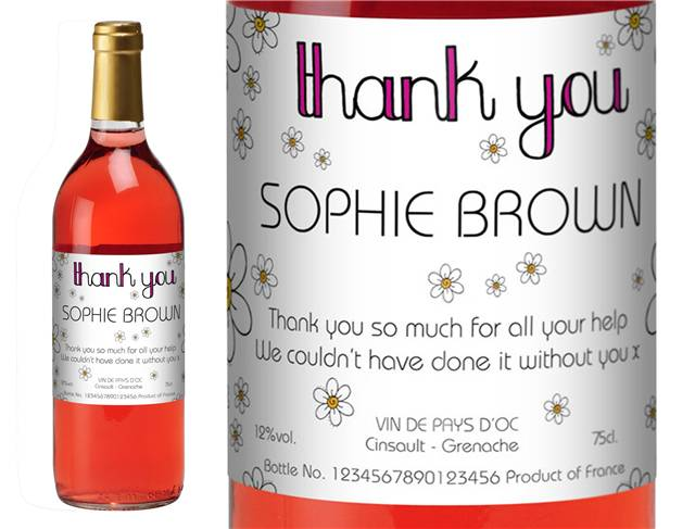 French Vin du France Rosé Wine Thank You Daisies Label in Gold Box
