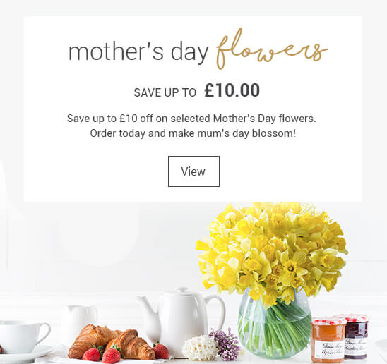 £10 off mothers day flowers
